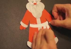 Аппликация на новогоднюю тему. Поделка Дед Мороз своими руками из бумаги (24)