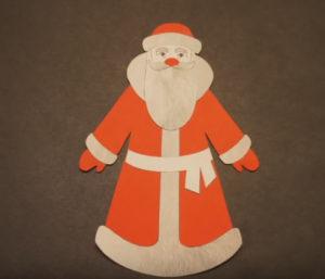Аппликация на новогоднюю тему. Поделка Дед Мороз своими руками из бумаги (25)