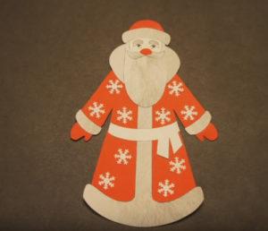 Аппликация на новогоднюю тему. Поделка Дед Мороз своими руками из бумаги (26)
