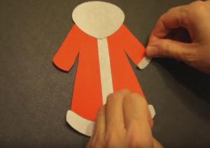 Аппликация на новогоднюю тему. Поделка Дед Мороз своими руками из бумаги (9)