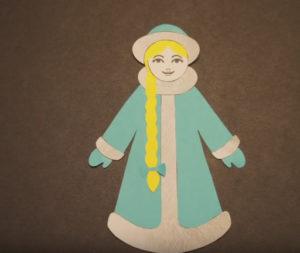 Аппликация на новогоднюю тему. Снегурочка из бумаги своими руками (17)