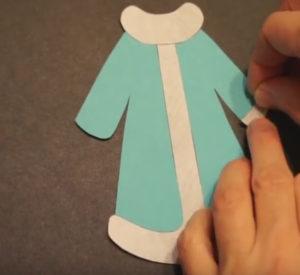 Аппликация на новогоднюю тему. Снегурочка из бумаги своими руками (6)
