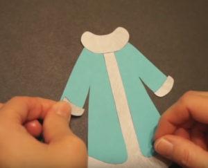 Аппликация на новогоднюю тему. Снегурочка из бумаги своими руками (7)