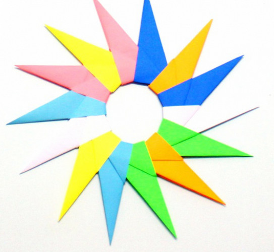 Оригами схема солнышка