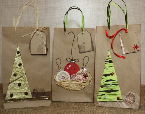 Новогодние пакеты для подарков своими руками