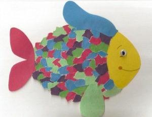 Поделки для детей старшей группы детского сада. Аппликация из обрывной бумаги (3)