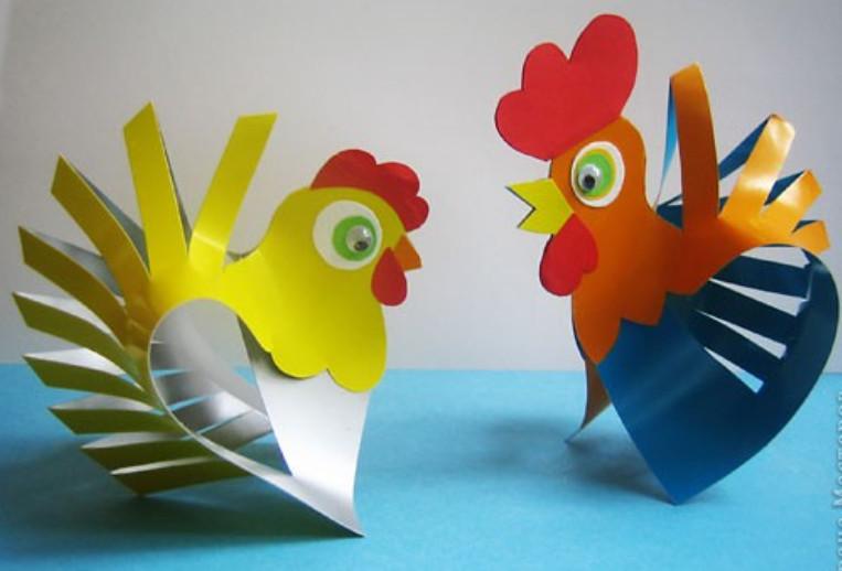 Петушок из бумаги для детей своими руками