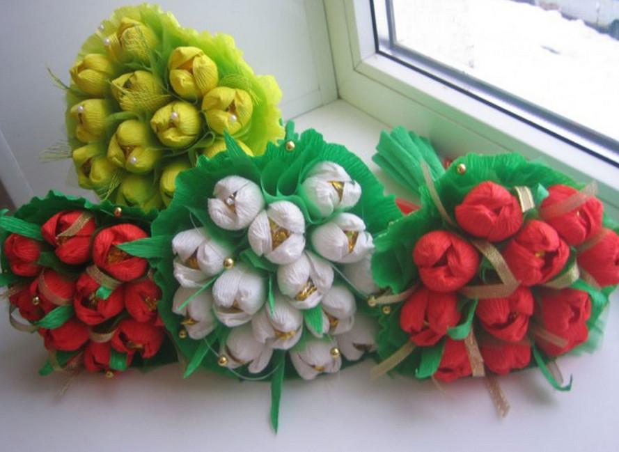 Букет тюльпанов из гофрированной бумаги своими руками пошаговое фото