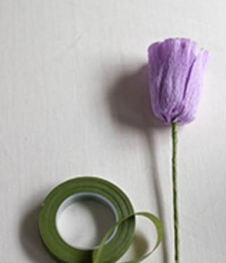Тюльпан из гофрированной бумаги.