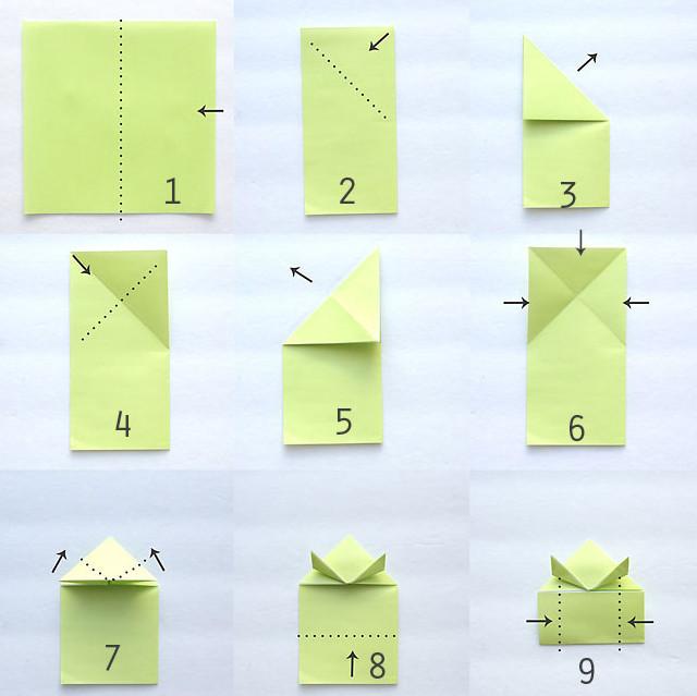 Лягушка оригами .