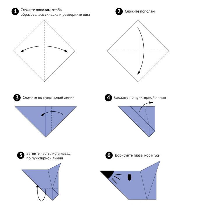 Лёгкие оригами животных из бумаги схемы
