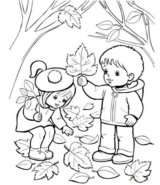 осень раскраска картинка