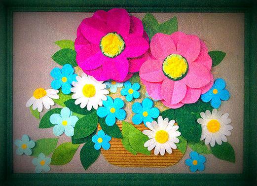 1f1ad7a24c44 Объемные аппликации из цветов. Поделки своими руками из бумаги.