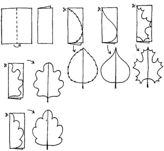 Листочки на окошке аппликация симметричная