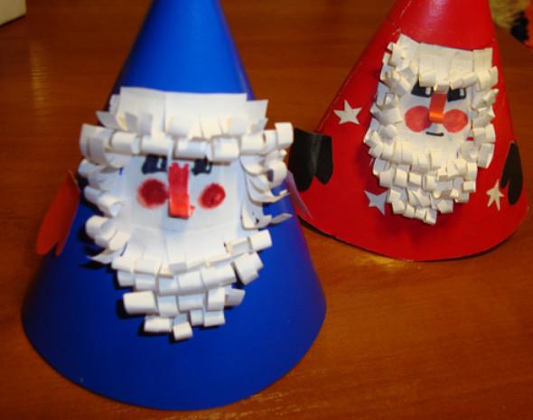 Дед мороз поделка своими руками из бумаги и ваты