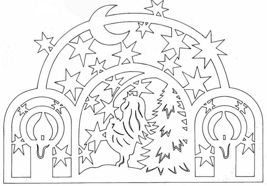 Трафареты новогодних композиций из бумаги для вырезания отдельными
