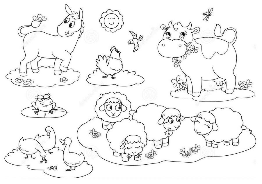 лучевой раскраска животные на ферме распечатать них является появление