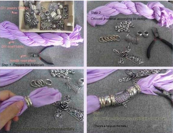 Ожерелье из шарфов и косынок: модно и стильно...