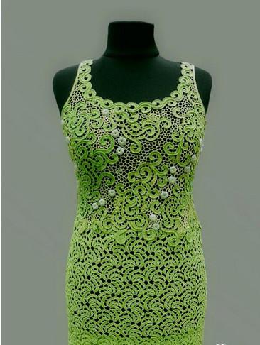 Вяжем новое ленточное кружево «мандаринки»… В этом платье все тебе обзавидуются...
