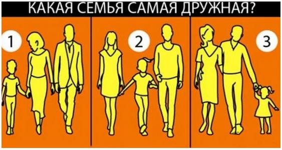 На какой из этих картинок самая дружная семья?