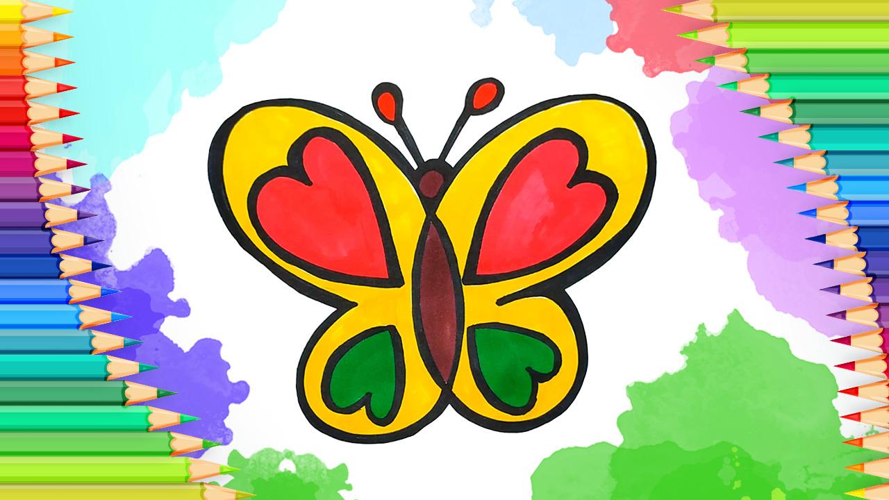 Как нарисовать бабочку l Раскраска для малышей l Учимся ...