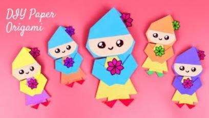 🎎DIY Кукла из бумаги 🎎 Как сделать оригами куклу своими руками 🎎 Легкие поделки 🎎Origami Paper Doll